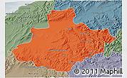 Political 3D Map of Relizane, semi-desaturated