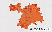 Political 3D Map of Setif, single color outside