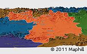 Political Panoramic Map of Setif, darken
