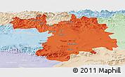 Political Panoramic Map of Setif, lighten