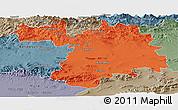 Political Panoramic Map of Setif, semi-desaturated