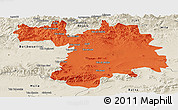 Political Panoramic Map of Setif, shaded relief outside