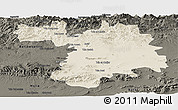 Shaded Relief Panoramic Map of Setif, darken