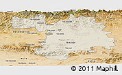 Shaded Relief Panoramic Map of Setif, satellite outside