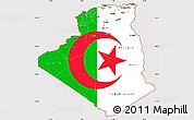 Flag Simple Map of Algeria, flag centered