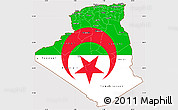 Flag Simple Map of Algeria, flag aligned to the middle