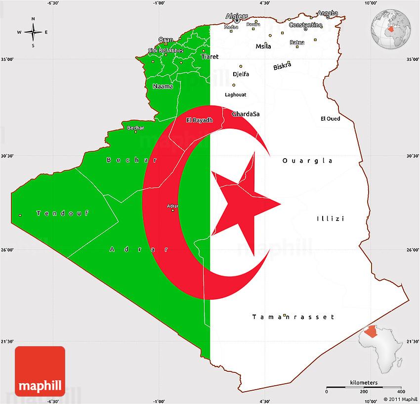 Flag Simple Map of Algeria