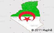 Flag Simple Map of Algeria, flag rotated