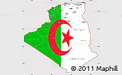 Flag Simple Map of Algeria
