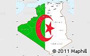Flag Simple Map of Algeria, single color outside