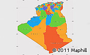 Political Simple Map of Algeria, cropped outside