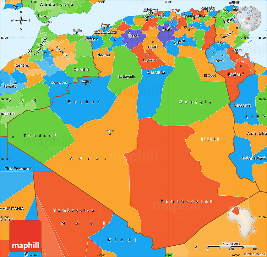 Political Simple Map Of Algeria - Algeria map