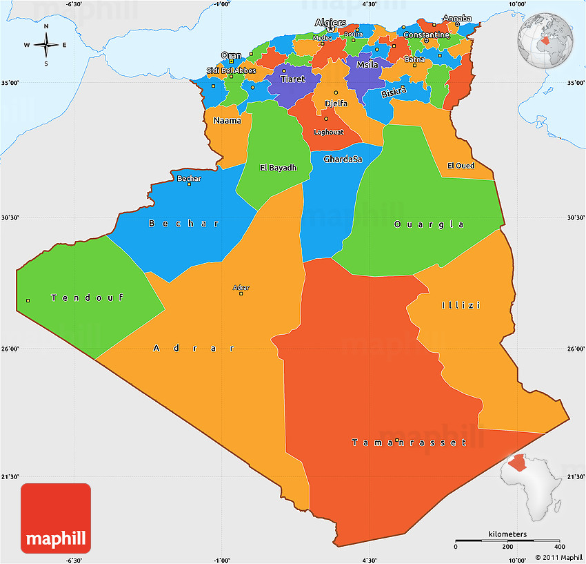 Political Simple Map Of Algeria Single Color Outside - Algeria map