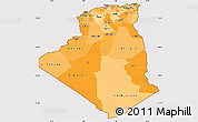 Political Shades Simple Map of Algeria, cropped outside