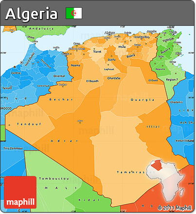 Free Political Shades Simple Map Of Algeria - Political map of algeria