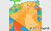 Political Shades Simple Map of Algeria, political outside