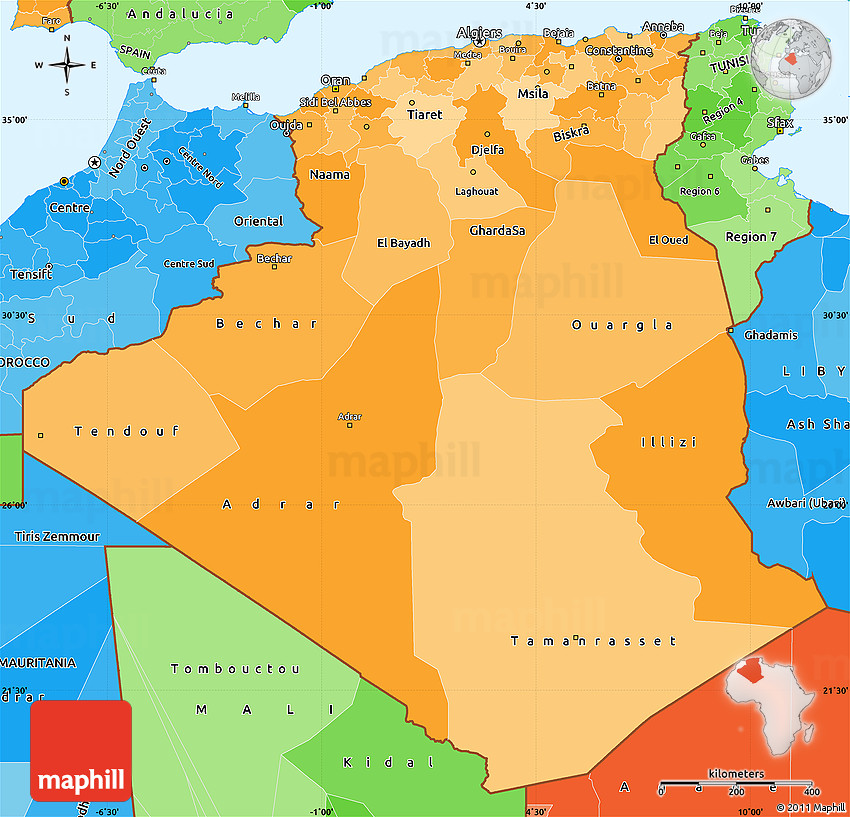 Political Shades Simple Map of Algeria