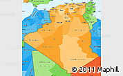 Political Shades Simple Map of Algeria