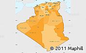 Political Shades Simple Map of Algeria, single color outside