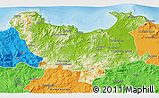 Physical 3D Map of Skikda, political outside