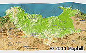 Physical 3D Map of Skikda, satellite outside