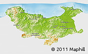 Physical 3D Map of Skikda, single color outside