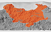 Political 3D Map of Skikda, desaturated