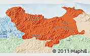 Political 3D Map of Skikda, lighten