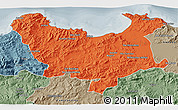 Political 3D Map of Skikda, semi-desaturated