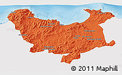 Political 3D Map of Skikda, single color outside