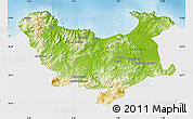 Physical Map of Skikda, single color outside