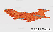 Political Panoramic Map of Skikda, cropped outside