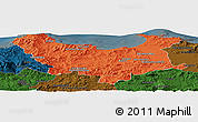 Political Panoramic Map of Skikda, darken