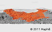 Political Panoramic Map of Skikda, desaturated
