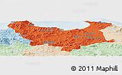 Political Panoramic Map of Skikda, lighten