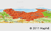 Political Panoramic Map of Skikda, physical outside