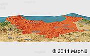Political Panoramic Map of Skikda, satellite outside