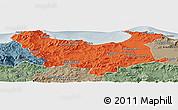 Political Panoramic Map of Skikda, semi-desaturated