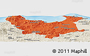 Political Panoramic Map of Skikda, shaded relief outside