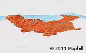Political Panoramic Map of Skikda, single color outside
