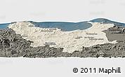 Shaded Relief Panoramic Map of Skikda, darken