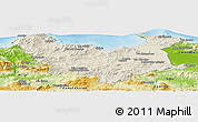 Shaded Relief Panoramic Map of Skikda, physical outside