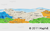 Shaded Relief Panoramic Map of Skikda, political outside