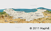 Shaded Relief Panoramic Map of Skikda, satellite outside