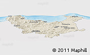 Shaded Relief Panoramic Map of Skikda, single color outside