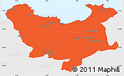 Political Simple Map of Skikda, single color outside