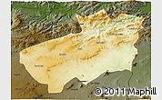 Physical 3D Map of Souk Ahras, darken