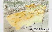 Physical 3D Map of Souk Ahras, semi-desaturated