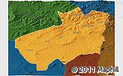 Political 3D Map of Souk Ahras, darken