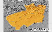 Political 3D Map of Souk Ahras, desaturated